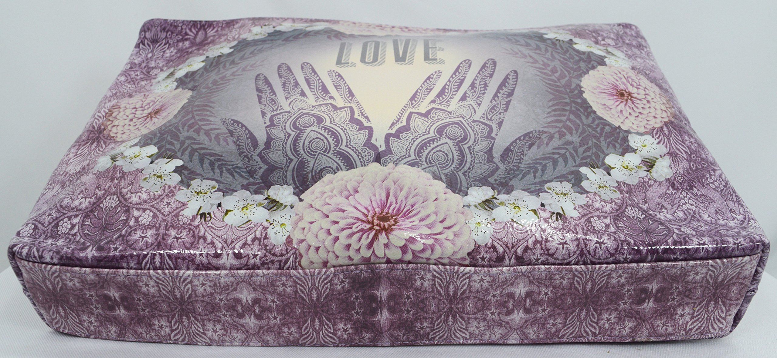 Love Henna Designs Oil Cloth Large Make-up or Accessory Travel Bag by Papaya (Image #3)