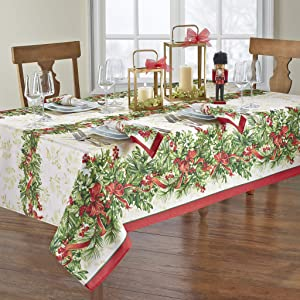 """Elrene Home Fashions Holly Traditions Fabric Tablecloth, 60"""" x 102"""", Multi"""
