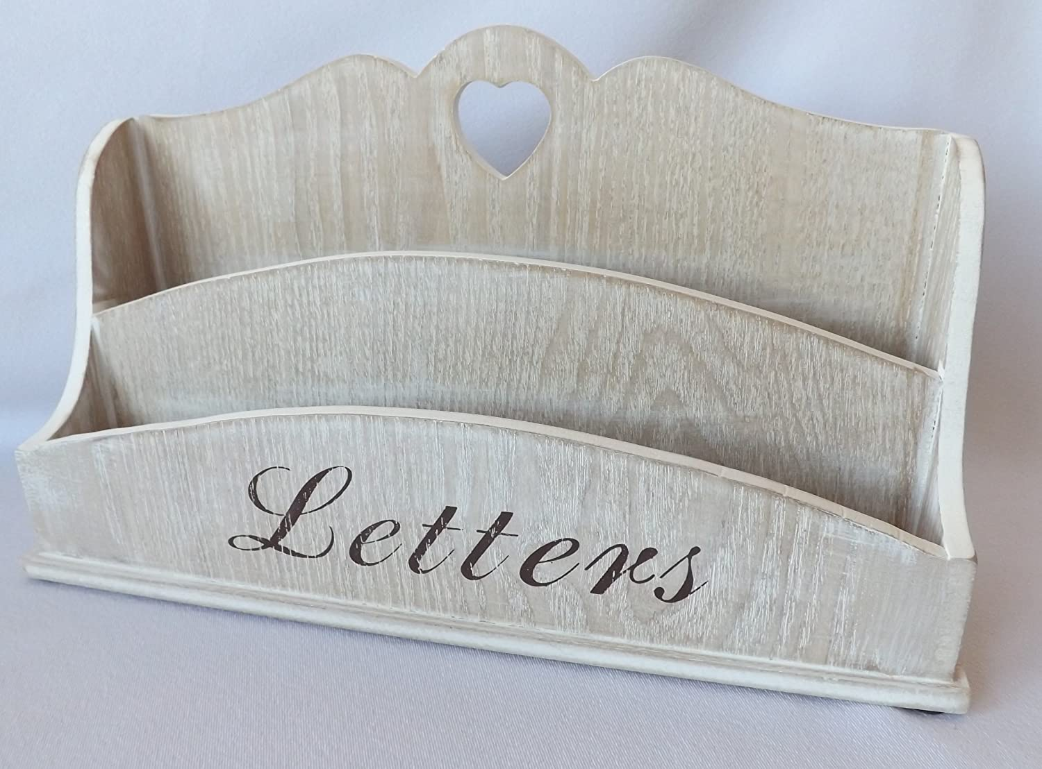 Lovely Shabby Chic Country White Washed Wooden Letter Rack Post Storage Box With  Heart Cut Out: Amazon.co.uk: Kitchen U0026 Home