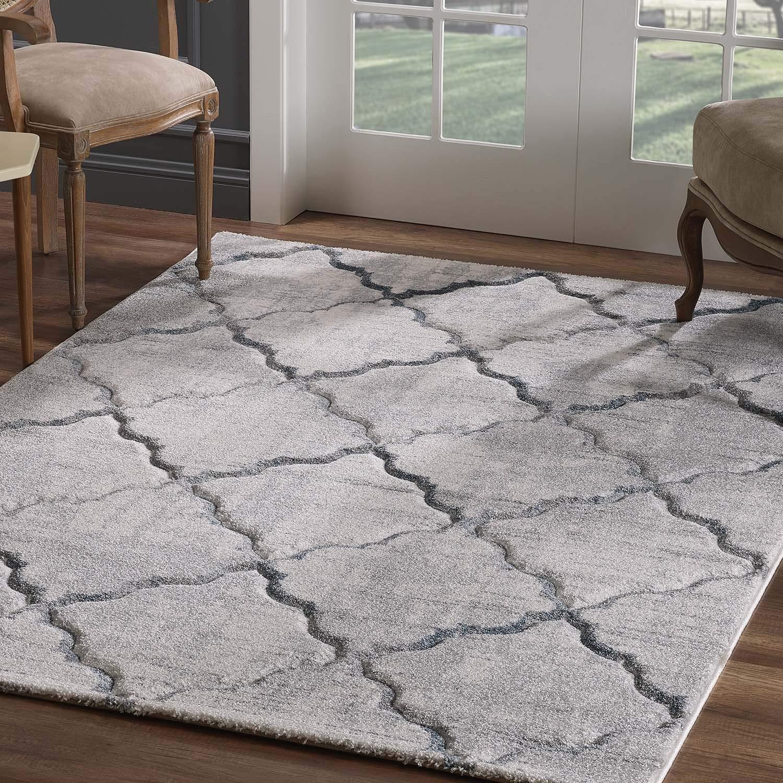 Teppich Flachflor Modern Konturenschnitt Marokkanisches Design Wohnzimmer Grau Größe 160/230 cm