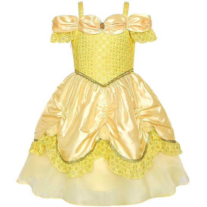 Sunny Fashion Vestido para Niña Amarillo Princesa Beldad Disfraz Cumpleaños Fiesta 3-8 Años: Amazon.es: Ropa y accesorios