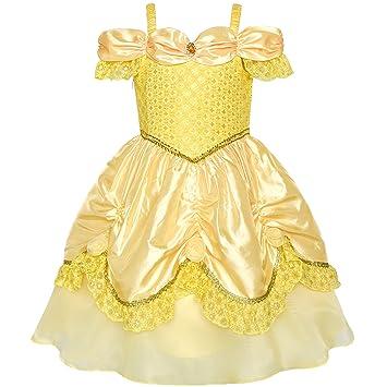 Sunny Fashion Vestido para niña Amarillo Princesa Beldad Disfraz Fiesta de  cumpleaños 4 años 0b4a8aef25d0