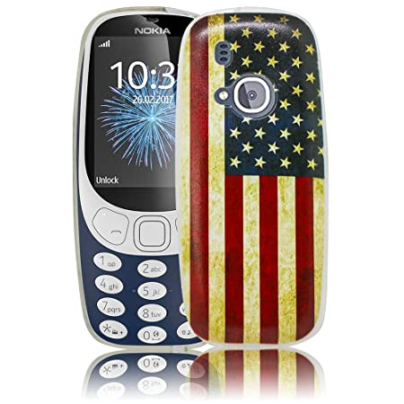 Nokia 3310 2017 USA Vintage Silikon Schutz-Hülle weiche Tasche Cover Case Bumper Etui Flip smartphone handy backcover Schutzh