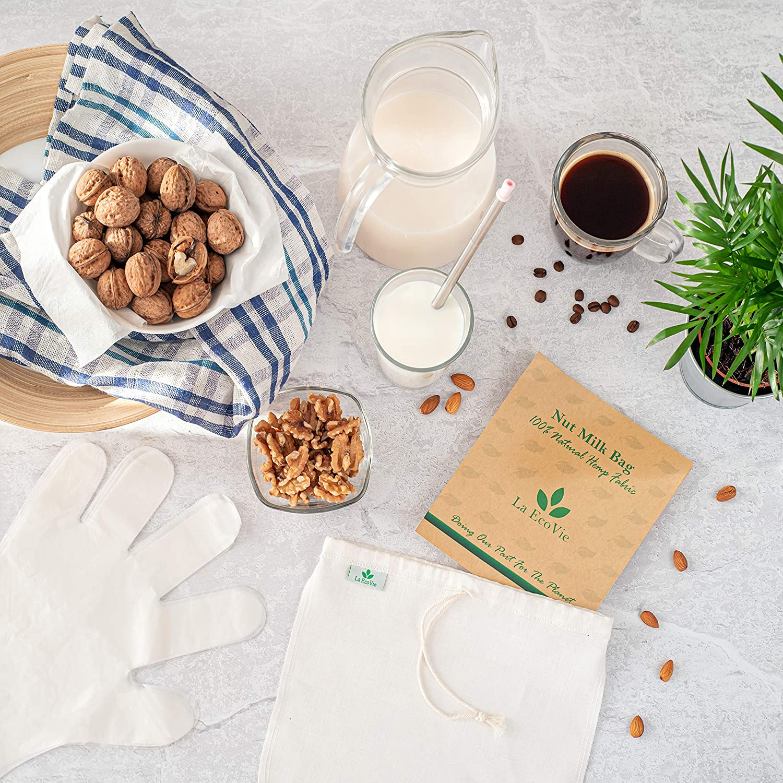 Colino per Kefir Mussola per Formaggio Nut Milk Bag Garza alimentare Sacchetto per Latte Vegetale in Canapa Naturale Cheese Cloth per Filtrare Filtro per Liquori