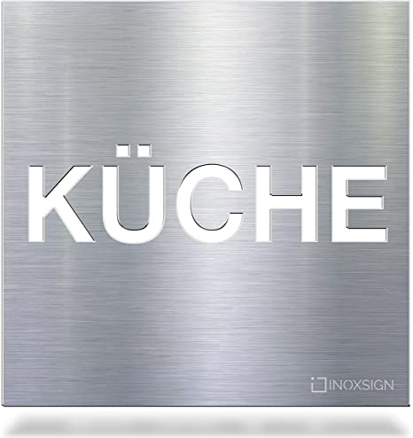 INOXSIGN Placa de Aviso de Acero Inoxidable KÜCHE H.63.E ...
