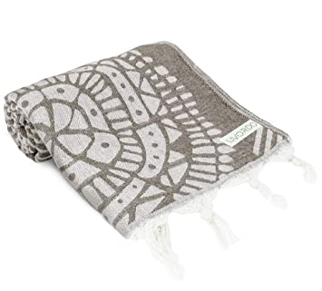 Livordo Toalla de playa turca suave y absorbente 100% algodón fabricado en chapa Turquía secado