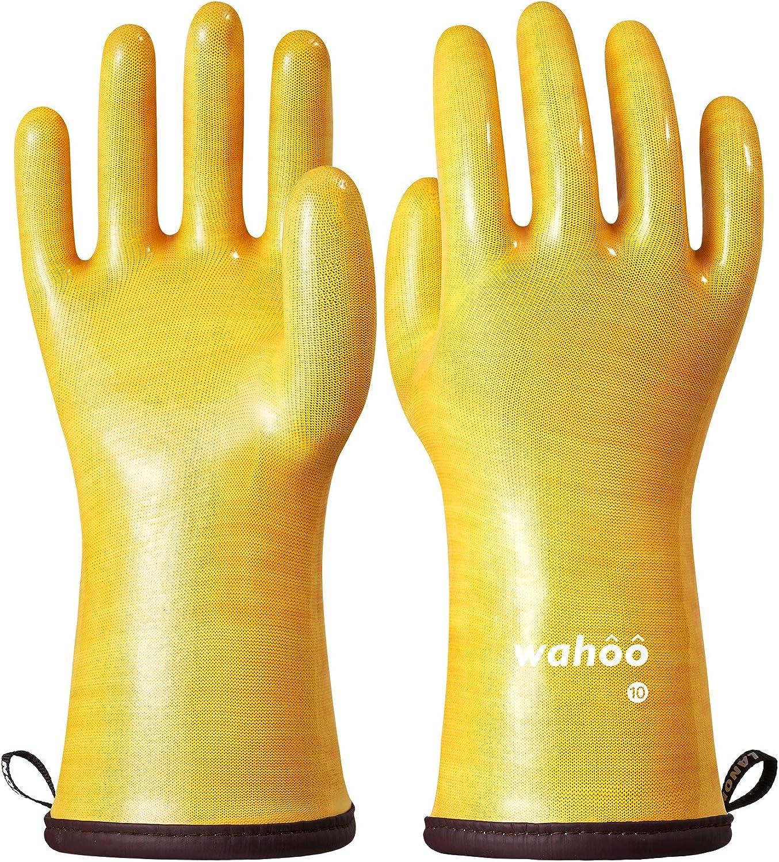 LANON Wahoo Liquid Silicone Heat Resistant Gloves, Food Contact Grade, Waterproof, Yellow, Size 10