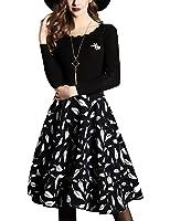 DanMunier Women's Long Sleeve Casual Sweater Knitted A-Lin Dress #4252