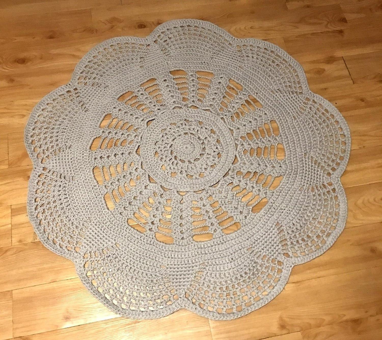 Amazon Kays Crochet Giant Doily Rug Grey Beige Cottage Chic