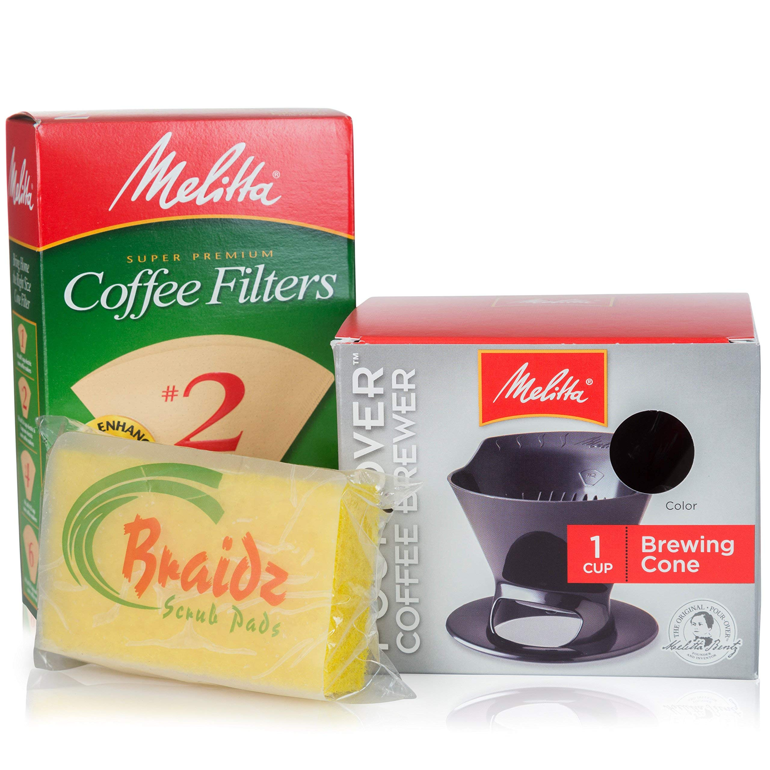 Melitta Coffee Maker Single Cup Pour Over Coffee Brewer with Natural Brown Cone Coffee Filters #2 100-Count and a Braidz Scrub Pad by Melitta