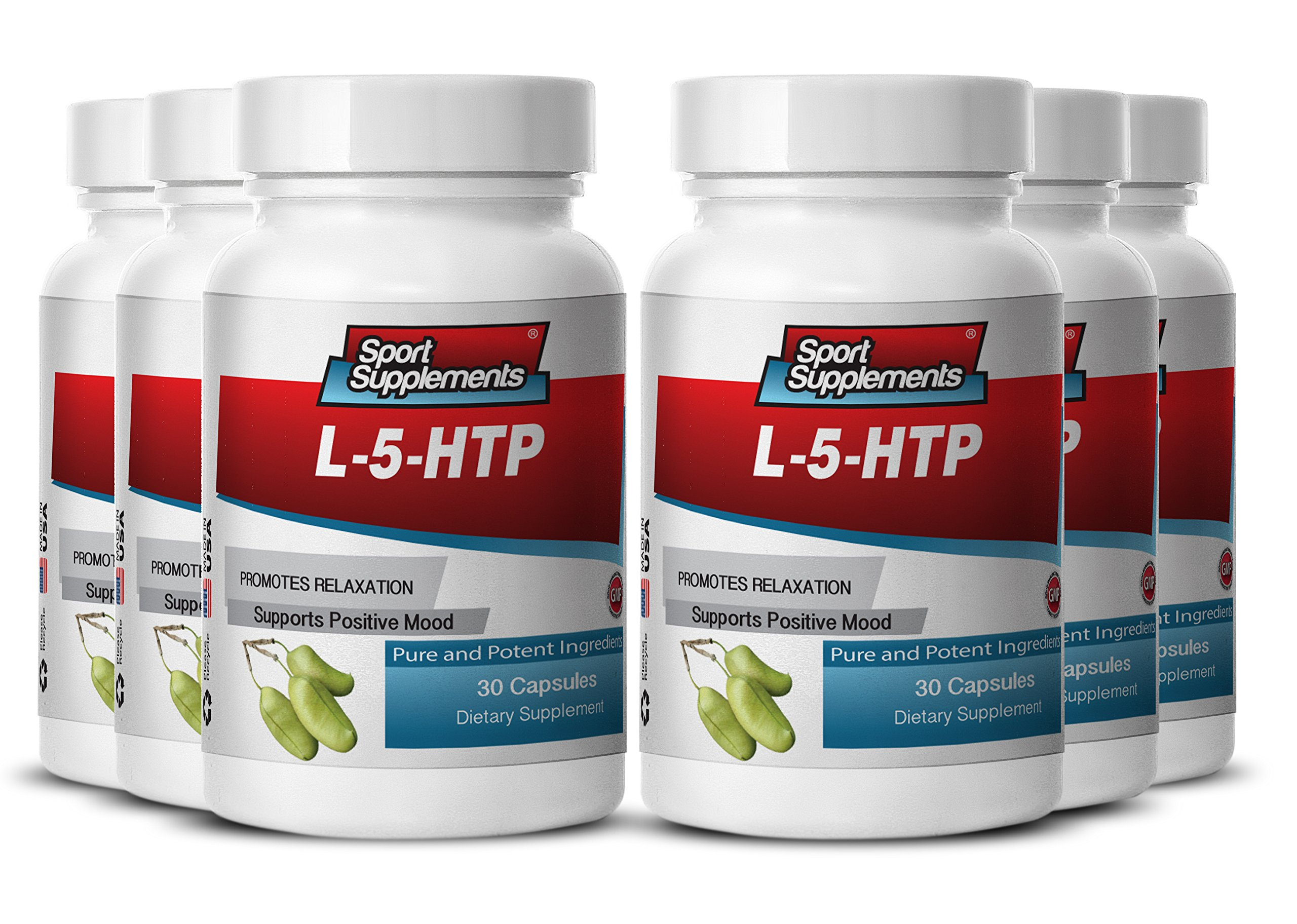 5 Htp and L Theanine - L-5-htp 377mg - Natural Mood and Nerve System Booster 5 HTP Supplement for Appetite Control and Normal Sleep (6 Bottles 180 Capsules)