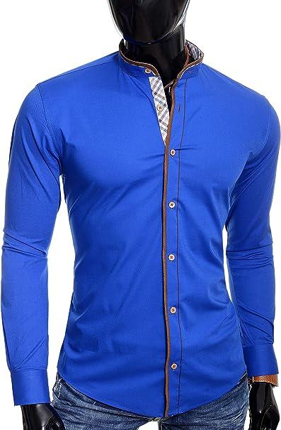 D&R Fashion Hombre Camisa con Cuello Mao Acabado a Cuadros Parches de Codo de Gamuza Slim: Amazon.es: Ropa y accesorios