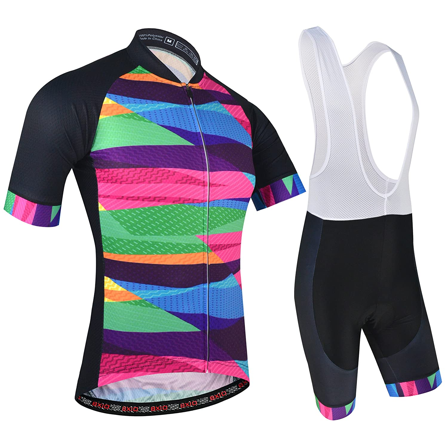 Mens Cycling Shorts with 3 Elastic Rear Pockets Stripped Multi-Colour Gel Pad and Anti-Skip Strip for Cyclist and MTB Pro Racing Full Zipper BXIO Cycling Jersey and Bib Shorts