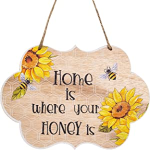 Welcome Sign,9 x 6 inches Bee hive creativity for Front door,wall,porch,window,farmhouse,Home Decor,Suitable for Outdoor,Indoor, Holiday, Xmas,and All Season ,Wooden (home is where you honey is)
