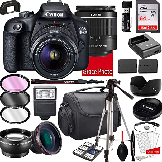 Canon EOS 2000D (Rebel T7) DSLR Camera with 18-55mm f/3.5-5.6 Zoom Lens,...