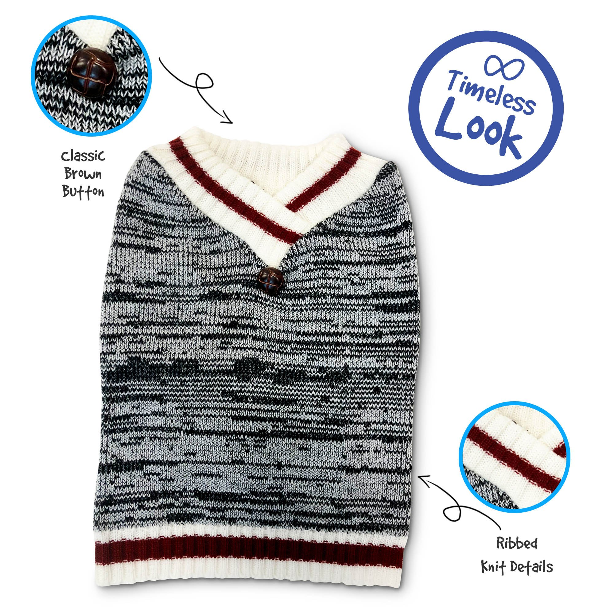 Pet Craft Supply 8973 V-nk Knit Sweater, X-Small, Burgundy