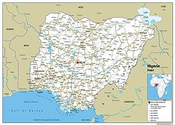 Nigeria Road Map Paper Laminated A2 Size 42 x 594 cm Amazonco
