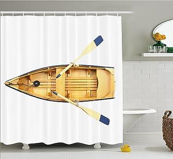 Awesome Ruder Vorhang Für Die Dusche Von Ambesonne, Holz Angeln Boot Mit Paddel  Meer Schiff Little