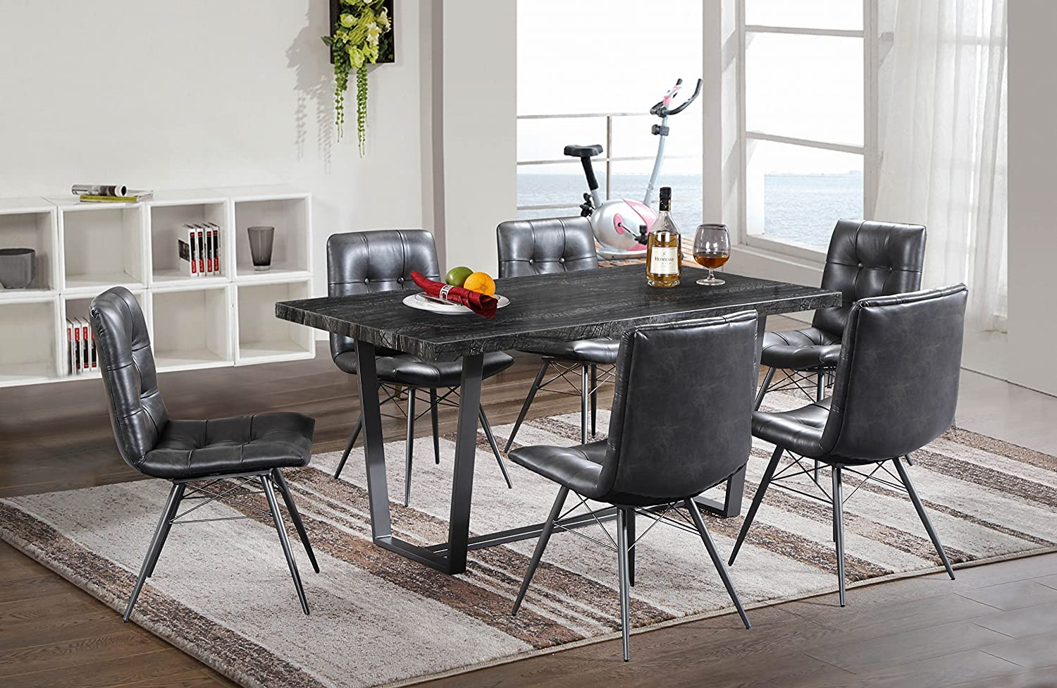 Oliver Smith - Marble Collection - 7 Piece Dining - Table and 6 Leather Chairs - Dinette Table Chairs Antique Washed Oak 801marble