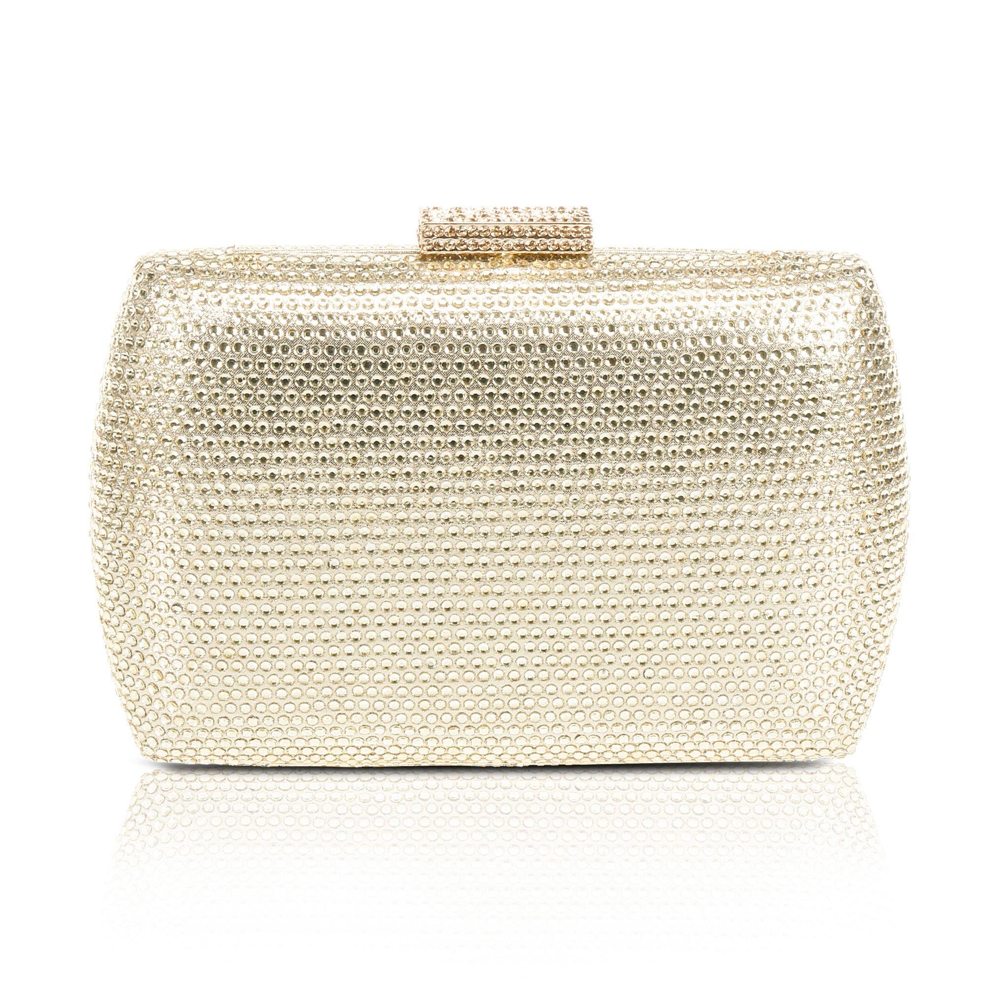 Womens Evening Purse Rhinestones Handbag ,WALLYN'S Glitter Prom Clutch Chain Strap(Gold)
