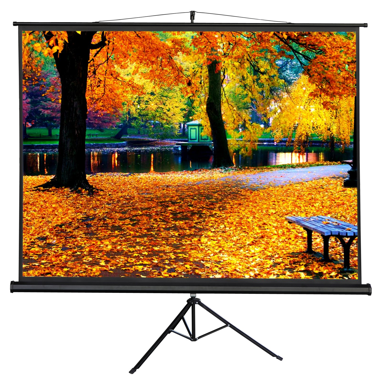 100'' Collapsible Projector Screen, Ultra Portable Pull Up Foldable Stand Tripod,4:3 Projection HD for Outdoor Indoor Home Cinema Theater Education (90'' x 56'')