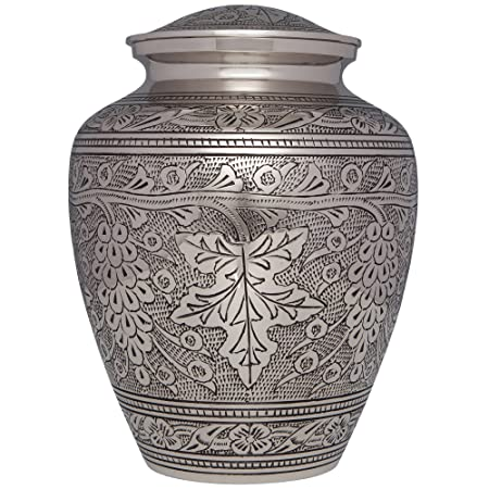 Silver Wine Grape Vines Funeral Urn – Cremation Urn for Human Ashes -Hand Made in Brass -Suitable for Cemetery Burial or Niche- Large Size fits remains of Adults up to 200 lbs- Bordeaux Model