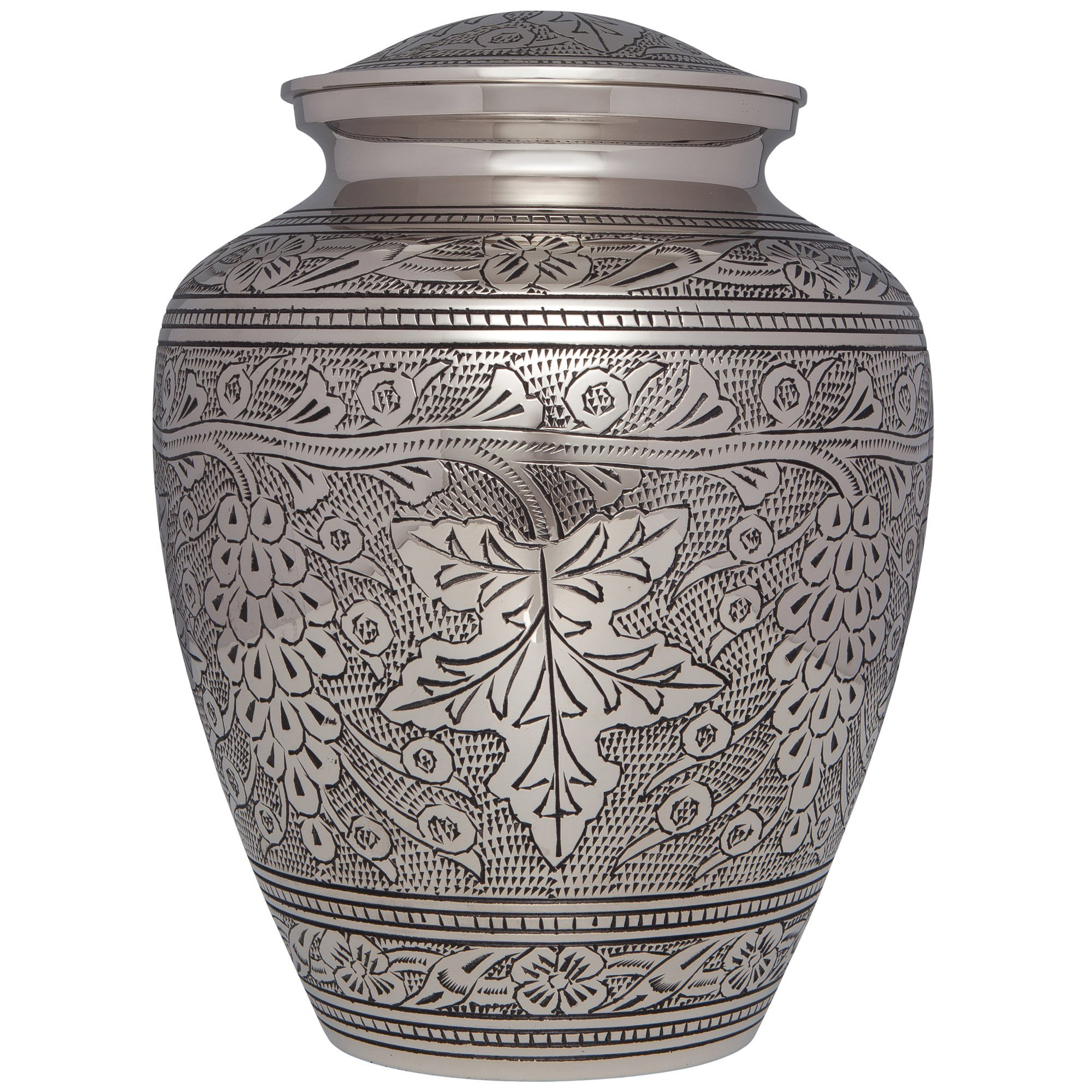 Silver Funeral Urn by Liliane Memorials- Cremation Urn for Human Ashes -Hand Made in Brass -Suitable for Cemetery Burial or Niche- Large Size fits remains of Adults up to 200 lbs- Bordeaux Model