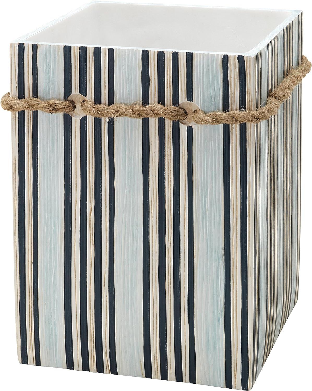 Zenna Home, India Ink Seaside Serenity Waste Basket, Coastal/Beach wastebaskets, Teal/Ivory