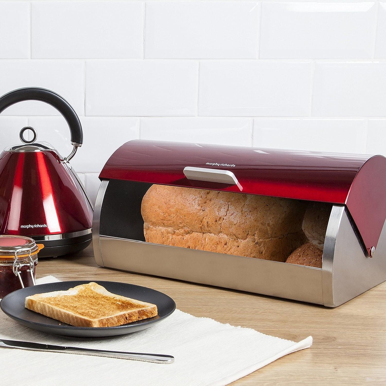 46241 Morphy Richards Corbeille à pain à couvercle coulissant Rouge