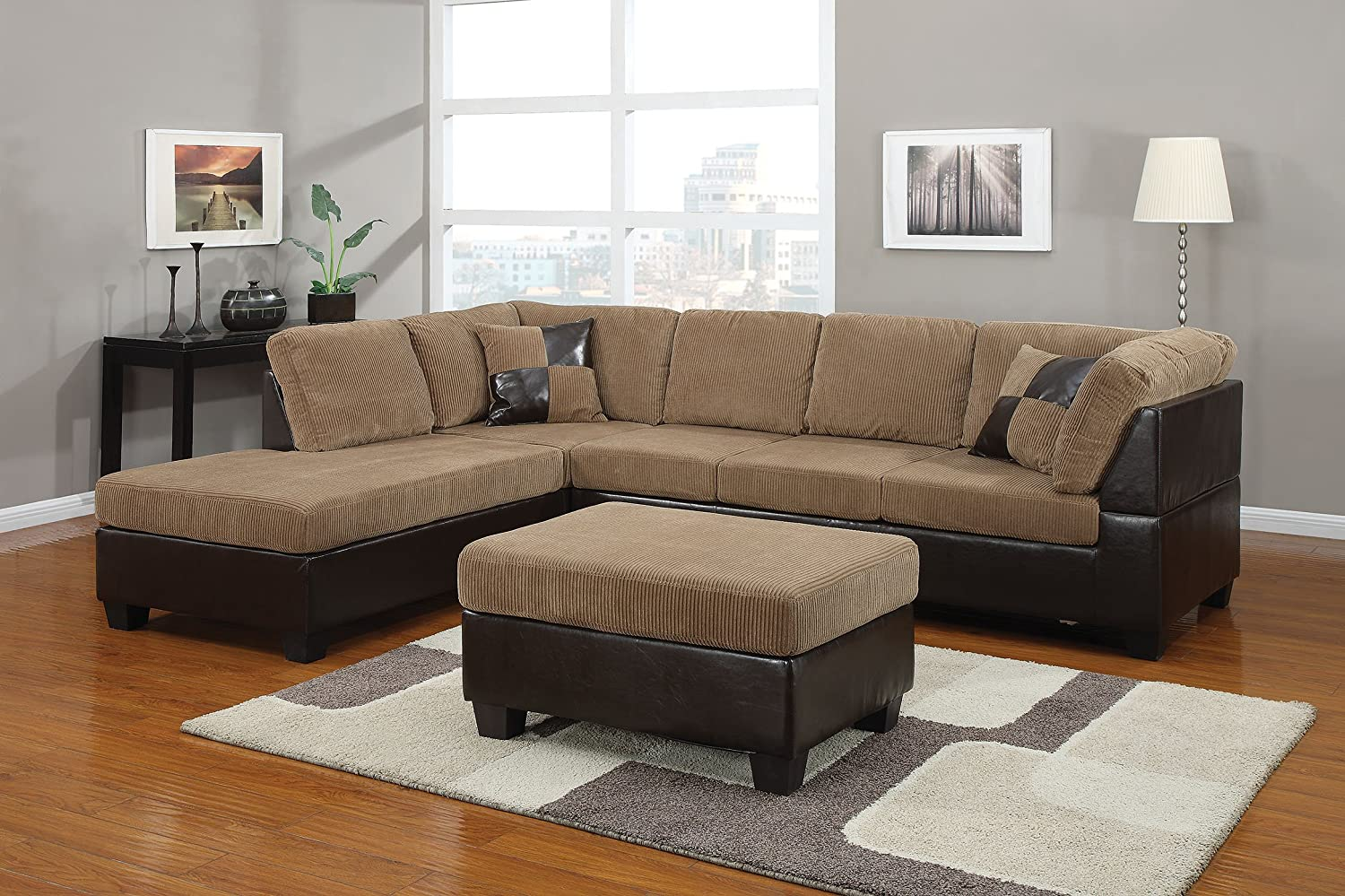 ACME 55945 Connell Sectional Sofa with Pillows, Light Brown Corduroy and  Espresso