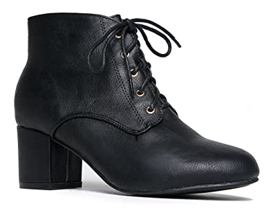 J Adams Low Block Heel Ankle Boot  Casual Easy Lace up Bootie  Faux