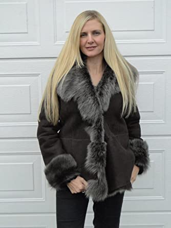 Ladies Short Toscana Sheepskin Coat (Medium, Brown): Amazon.co.uk ...