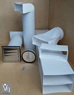 Mauerkasten Ø100Dunstabzug Edelstahl Rückstauklappe Flachkanal 114x59mm S5-MKWSQLE-BDSI-100