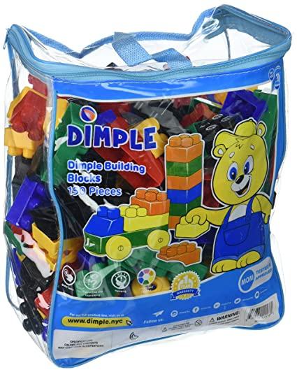 5ec8b264b840 Amazon.com  Dimple 150 Piece Soft Plastic Multi Colored Building Block Set  with Wheeled Train Pieces and Carry Bag