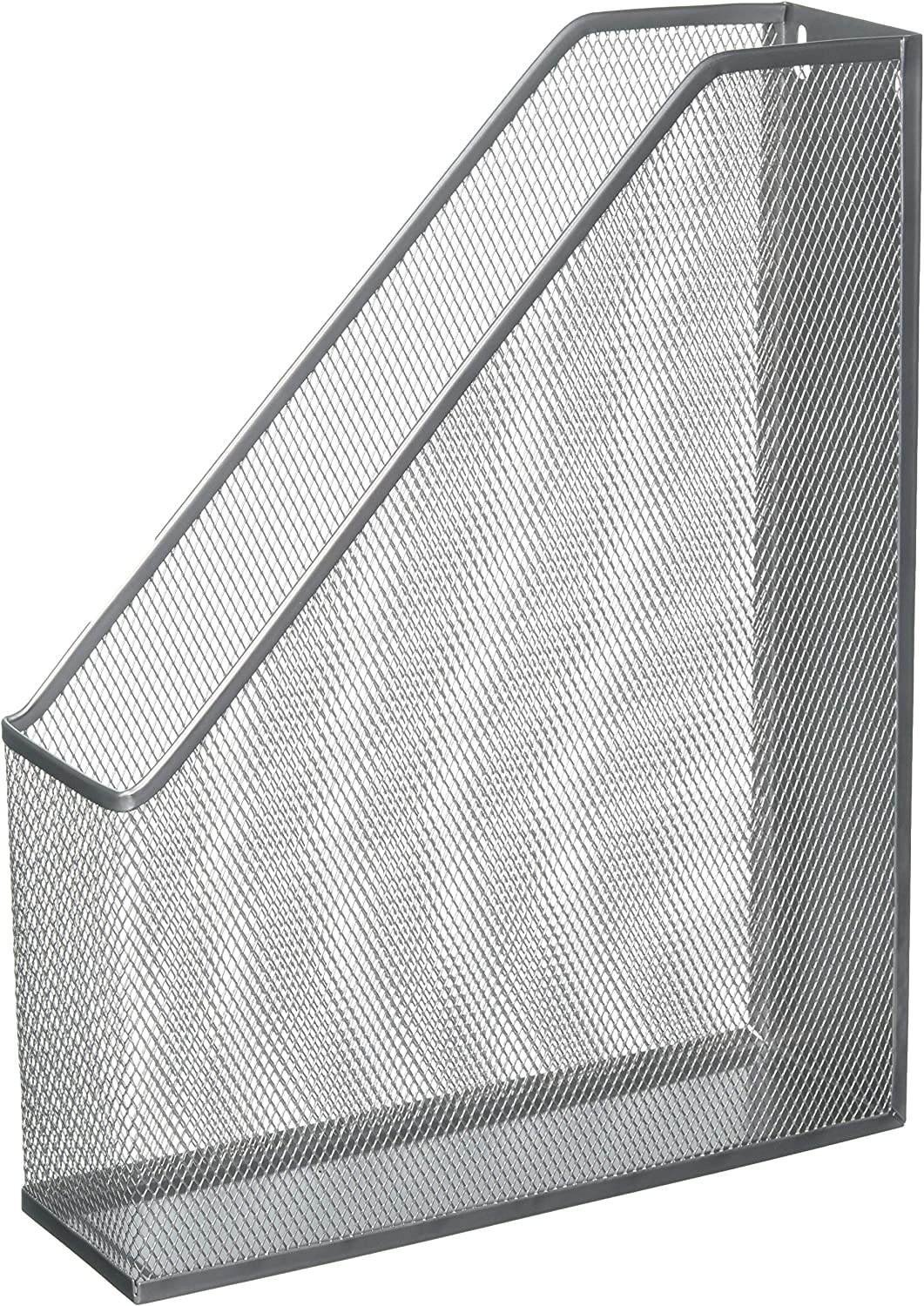 YBM Home Steel Mesh Wall Magazine File Holder for Home & Office Organization, Serves as a Magazine Rack, Desk Organizer, Letter and Mail Bin, Holds Up to 20 Magazines - Silver, 1111