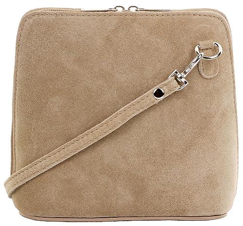 133c38489fb Primo Sacchi® cuir Suede italien petit micro sac à bandoulière beige léger.  Comprend