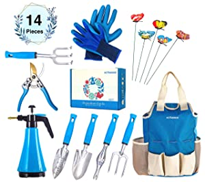 Kit4Pros Premium Garden Tools Set | Gardening Gifts for Women & Men | Heavy Duty Kit w/Ergonomic Handle | Weeder | Cultivator | Trowel | Storage Tote Bag Organizer | Pruning Shears & Gardener Gloves