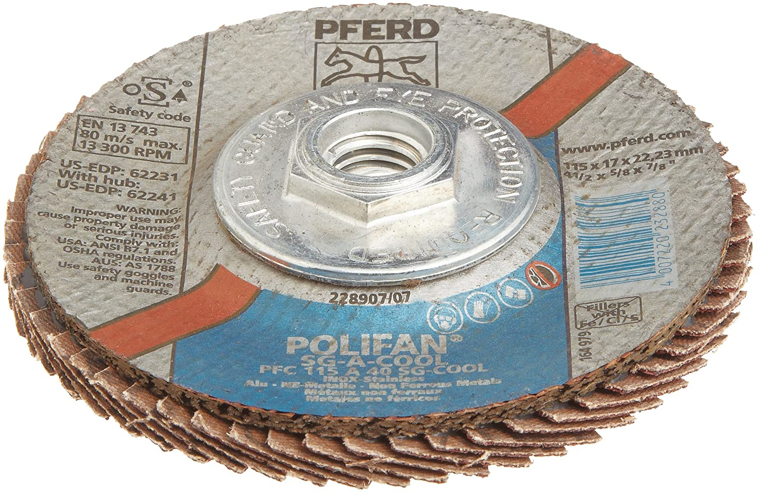 4-1//2 Dia. 4-1//2 Dia. PFERD Polifan SG CO-COOL Abrasive Flap Disc Type 29 Phenolic Resin Backing Aluminum Oxide Pack of 1 40 Grit Threaded Hole