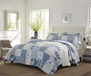 Laura Ashley Paisley Patchwork Quilt Set, King, Blue