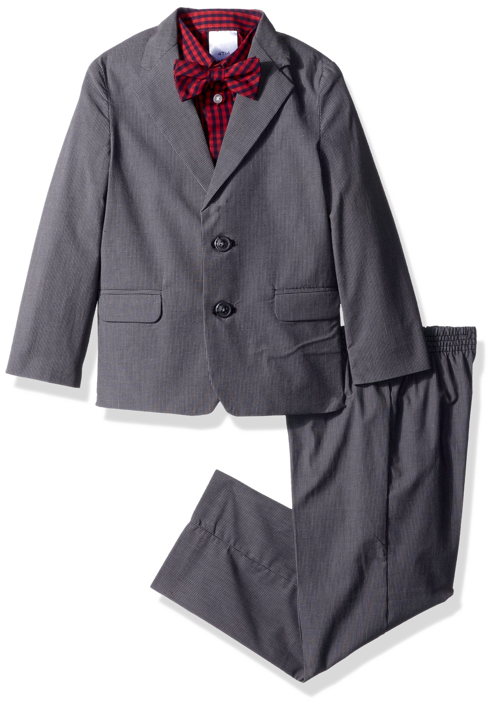 Nautica Boys' 4-Piece Formal Dresswear Suit Set with Bow Tie, Dark Gray, 6