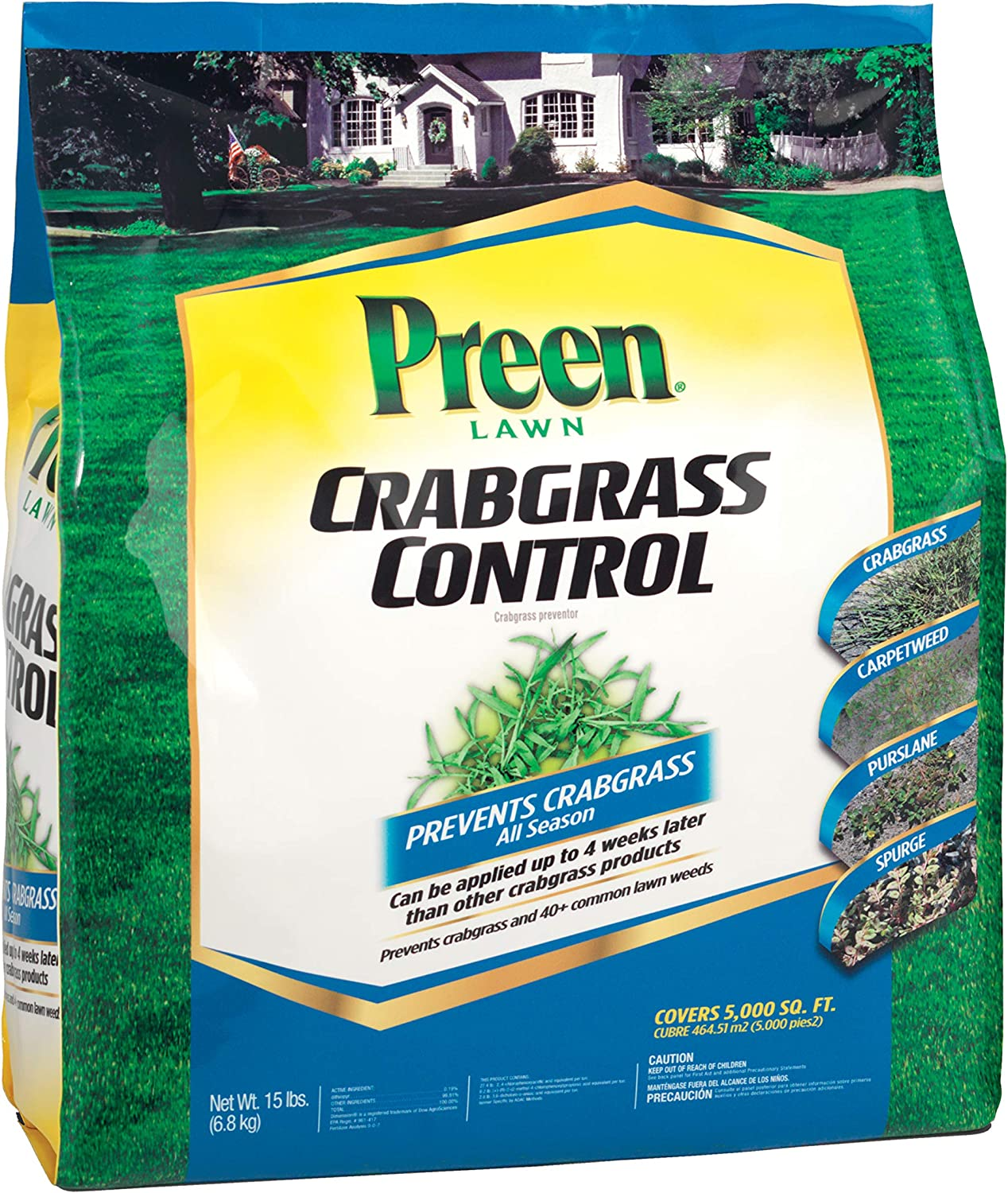 Preen 2464064 Lawn Crabgrass Control, 15 lb, Covers 5,000 sq. ft