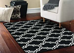 Garland Rug Silhouette Area Rug, 5 by 7-Feet, Black/White