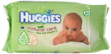 HUGGIES Natural Care Aloe Vera Baby Wipes No Alcohol 64 Sheets 64WIPES