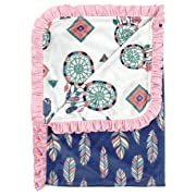 Dear Baby Gear Deluxe Reversible Baby Blankets, Custom Minky Print Feathers and Dream Catchers, 38 Inches by 29 Inches