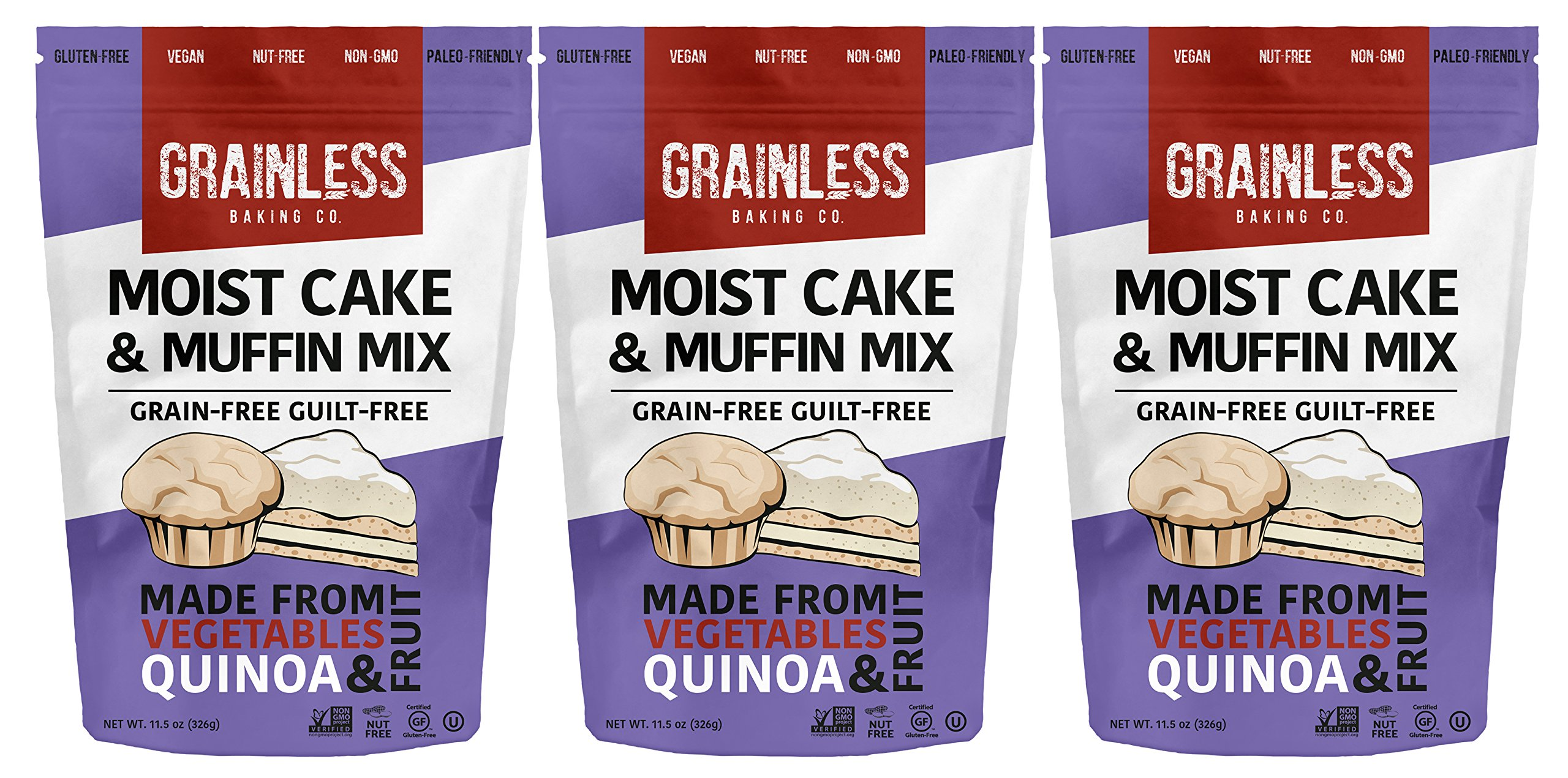 Grainless Grain Free Cake and Muffin Mix - Baking Mix for Grain-Less Cup Cakes, Grain Free Muffins | Gluten Free, Soy Free, Corn Free, Nut Free, Vegan, Paleo Friendly, OU Kosher, 3 Packs by Grainless Baking Company