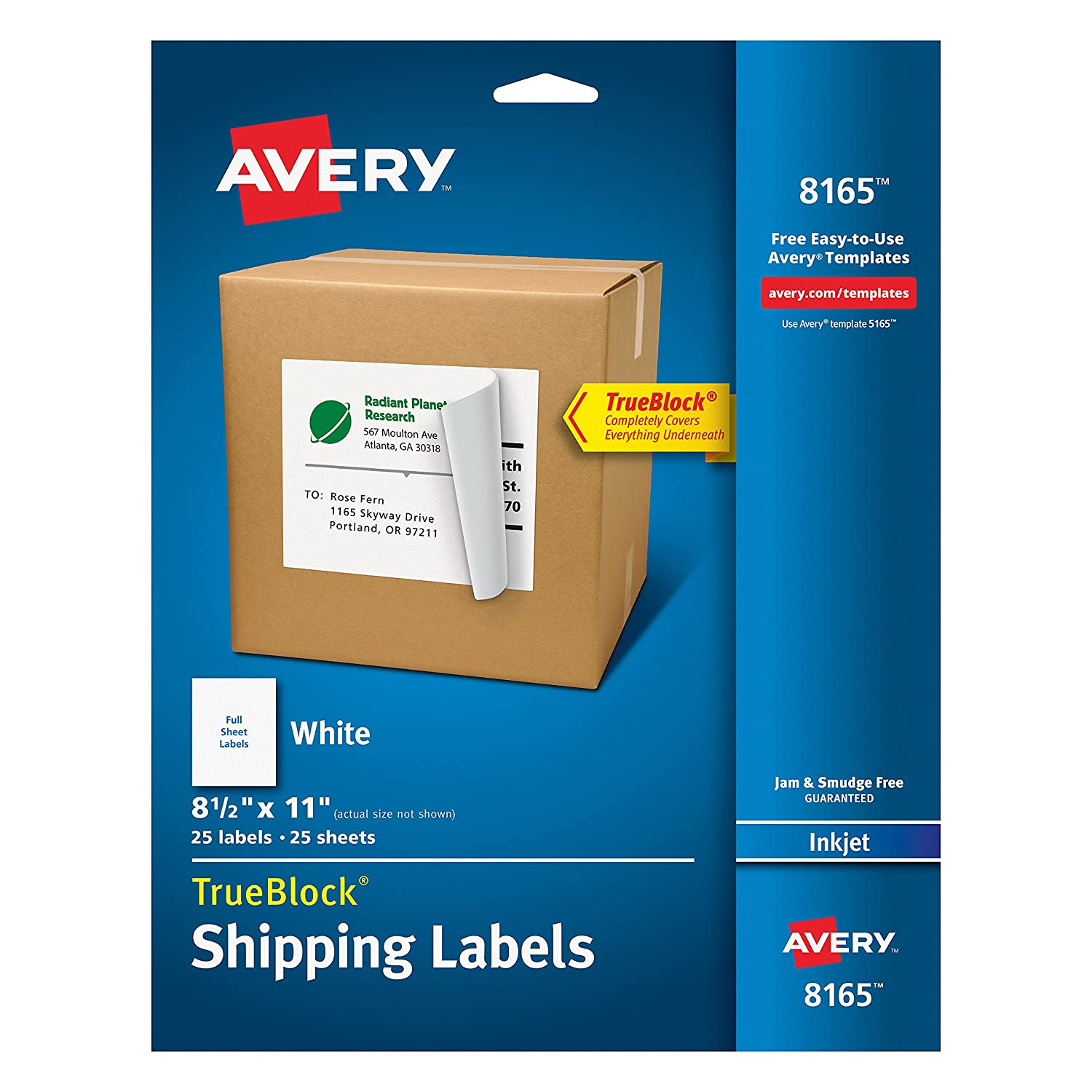 ed61a172aa13 Avery Shipping Address Labels, Inkjet Printers, 25 Labels, Full Sheet  Labels, Permanent Adhesive, TrueBlock (8165), White