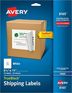 Avery Shipping Address Labels, Inkjet Printers, 25 Labels, Full Sheet Labels, Permanent Adhesive, TrueBlock (8165), White