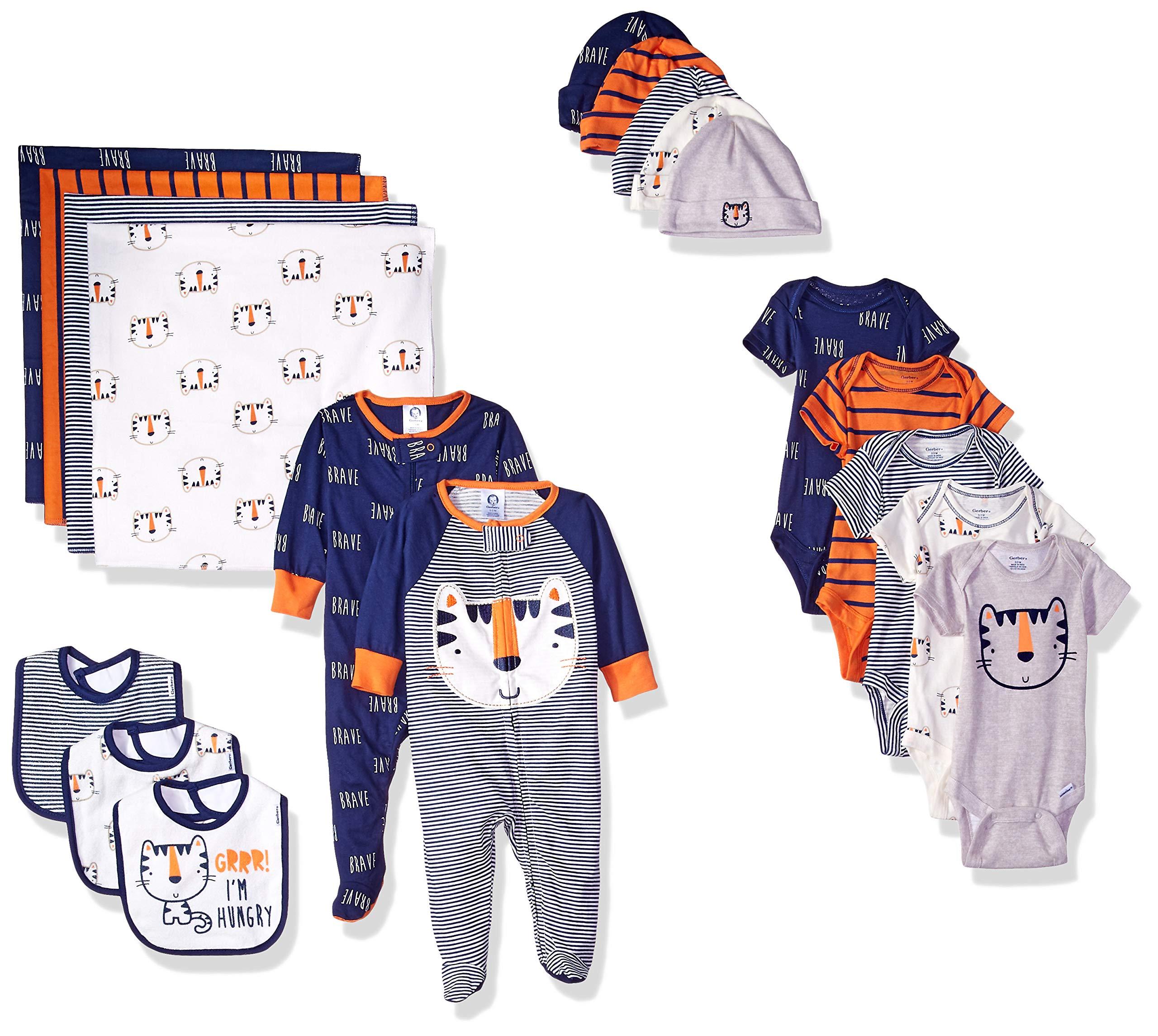 Gerber Baby Boys' 19-Piece Essentials Gift Set, Happy Tiger, Newborn