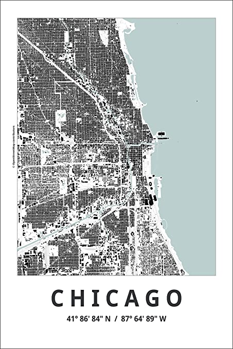 Amazon.com: Spitzy\'s Map of Chicago Illinois 12 by 18 Inch City Map ...