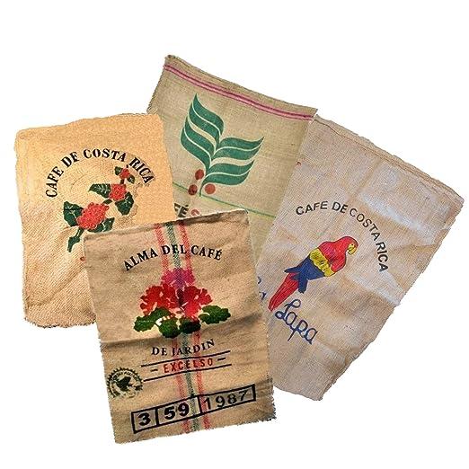Sacos de Yute Grande de Café Reciclados - Ideal para Jardineria Decoracion Manualidades - 100% Natural Ecológico Arpillera Vintage - Pack de 4 ...